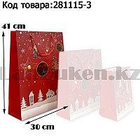 Пакет подарочный L(30х41) в новогодней тематике красный цвет с игрушками