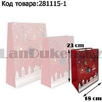 Пакет подарочный S(18х23) в новогодней тематике красный цвет с игрушками