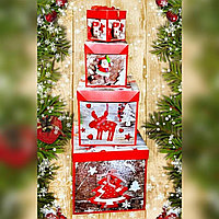 Коробка для подарка НОВОГОДНЯЯ ср 22*22 (С7685) картон