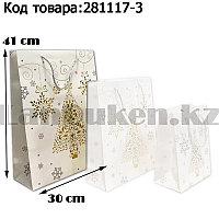 Пакет подарочный L(30х41) в новогодней тематике белый цвет с елочкой