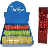 Лента для праздничной упаковки подарков(накартонной катушке, красный)