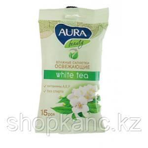 Салфетки влажные AURA WHITE TEA освежающие, 15 шт/уп.