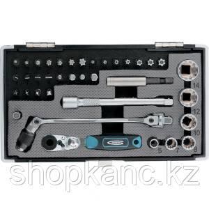 """Набор бит и головок торцевых, 1/4"""", карданный ключ, трещотка, адаптер, S2 37 шт"""