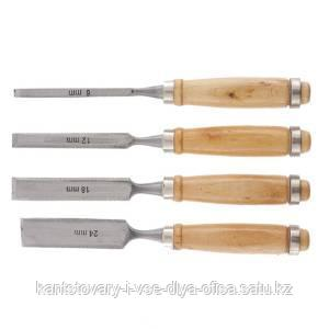 Набор долот-стамесок, 6-12-18-24 мм, плоских, деревянные рукоятки