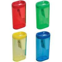 Точилка пластиковая 1 отверстие, контейнер, ассорти