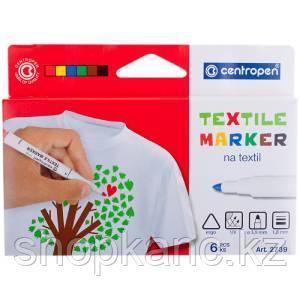 """Набор маркеров для ткани Centropen """"Textil Marker 2739"""" 6 цв, 1,8 мм."""