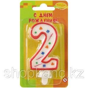 """Свеча для торта с держателем ПатиБум """"Цифра 2. Красное конфетти"""", 8см"""