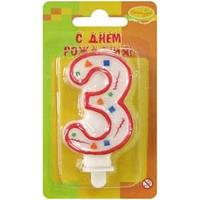 """Свеча для торта с держателем ПатиБум """"Цифра 3. Красное конфетти"""", 8см"""