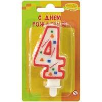 """Свеча для торта с держателем ПатиБум """"Цифра 4. Красное конфетти"""", 8см"""
