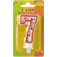 """Свеча для торта с держателем ПатиБум """"Цифра 7. Красное конфетти"""", 8см"""