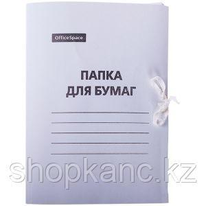 Папка для бумаг с завязками, картон мелованный, 300 г/м2, белый