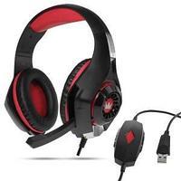 Наушники с микрофоном, цвет красный, штекер USB