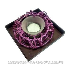 Подсвечник, ледяная корзинка, со свечкой, цвет фиолетовый.