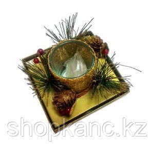Подсвечник, ледяная корзинка, со свечкой, цвет золото.