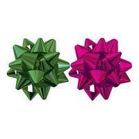 Набор из 2-х металлизированых бантов-цветков, для праздничной упаковки. цвета - амарант, изумруд