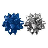 Набор из 2-х металлизированых бантов-звезд  для праздничной упаковки, цвета, синий, серебро 6см