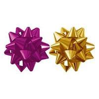 Набор из 2-х металлизированых бантов-звезд  для праздничной упаковки, цвета, амарант, золото 6см