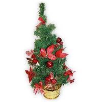 Елка искусственная декорированная, 60см., украшение красное