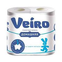 Бумага туалетная VEIRO Домашняя 2 сл, 4 рул/упак, белая.