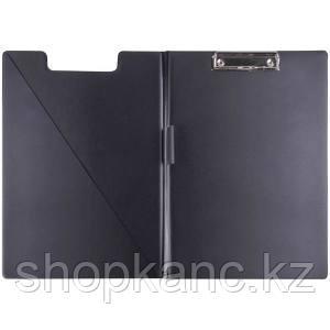 Папка-планшет с зажимом, ПВХ, черная