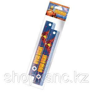 Линейка, 15 см, 2 шт. Упаковка - ПП-пакет, с европодвесом. Iron Man
