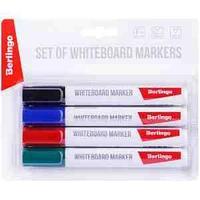 """Набор маркеров для белых досок Berlingo """"Uniline WB210"""", 4цв., пулевидный, 2мм"""