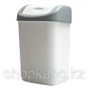 Ведро-контейнер для мусора (урна) OfficeClean, 14л, качающаяся крышка, пластик, серое