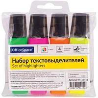 Набор текстовыделителей OfficeSpace 4цв., 1-5мм, ПВХ уп., европодвес