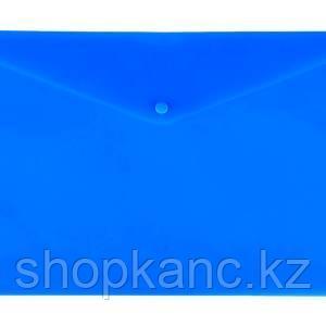 Конверт на кнопке Lamark, А4, 0,18 мм, глянцевый, синий