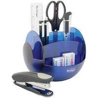 Настольный офисный набор, 9 предметов, FR, пластик, вращающийся, голубой.