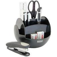 Настольный офисный набор, 9 предметов, FR, пластик, вращающийся, черный.