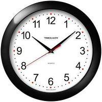 Часы настенные ход плавный, Troyka 11100112, круглые, 29*29*3,5, черная рамка
