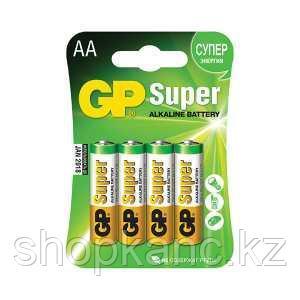 Батарейка Super Alkaline, LR06, AA, 1.5 V, 4 штуки в блистере.
