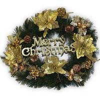 Рождественский венок, 50см., украшение золото.