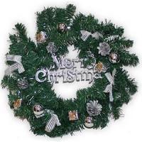 Рождественский венок, 40 см., украшение серебро.
