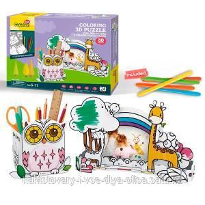 Пазл-раскраска Сова и жираф (5 фломастеров в комплекте)