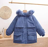 Зимняя детская куртка-парка на пуху Синий, 130