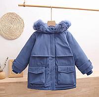 Зимняя детская куртка-парка на пуху Синий, 140
