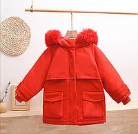 Зимняя детская куртка-парка на пуху Красный, 150