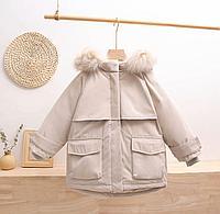 Зимняя детская куртка-парка на пуху Бежевый, 150