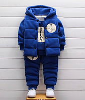 Детский тёплый костюм-тройка Синий, 120