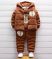 Детский тёплый костюм-тройка Коричневый, 100