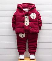 Детский тёплый костюм-тройка Бордовый, 120