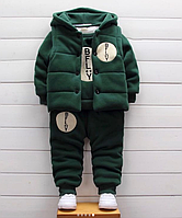 Детский тёплый костюм-тройка Изумрудный, 80