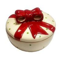 Сахарница керамическая, круглая дизайн. Бантик новогодний