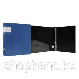 "Папка на кольцах, 4К, А4, р=1.1мм, S=40мм,  ""PERLEN"" , карман, Metallic, голубая арт.271954-74"