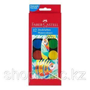 Краски акварельные Рыбки, 12 цветов с кисточкой, в пластиковом поддоне.