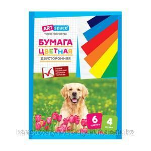Цветная бумага двусторонняя A4,  4 листа., 6 цветов, немелованный, на скобе.