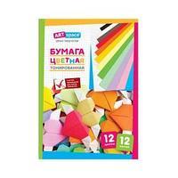Цветная бумага A4, 12 листов, 12 цветов, двухсторонняя, в папке.
