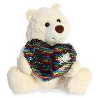 Игрушка мягкая Медведь Большое сердце крем. 30 см